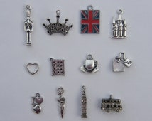 The I Love London Collection - 12 different antique silver tone charms