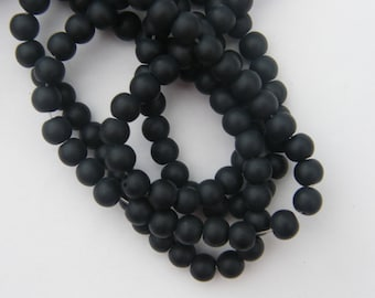 50 Black frosted glass beads 6mm B135