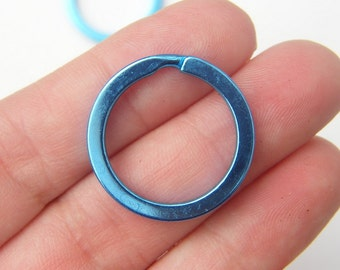 BULK 10 Blue Key rings 25 x 2mm - SALE 50% OFF