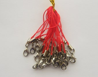 20 Red and silver cell phone strap 70mm with lobster clasp