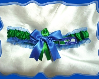 Royal Organza Ribbon Wedding Garter Made with Seattle Fabric
