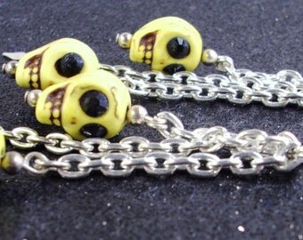 Handmade Yellow Skull black eyes long silver chain Halloween Earrings