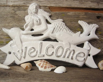 Rustic White  Mermaid and Dolphin Welcome Cast Iron Sign,Mermaid Sign,Welcome Sign