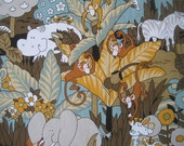 Vintage 60s 70s Jungle Animal Novelty Whimsical Cotton Fabric