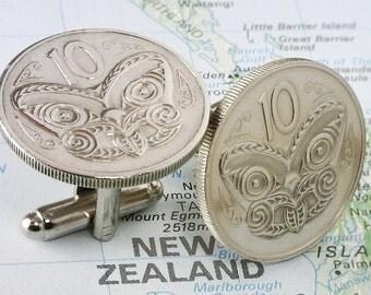 NEW ZEALAND  (Maori Koruru Mask  - 10  Cents ) - Genuine Coin Cuff Links -- Unique Gift - FREE & Reduced Shipping - 5c2