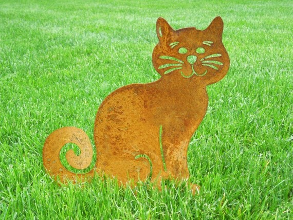 cat garden stake or wall hanging memorial garden art On cat yard art