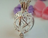 Silver plated - Pendulum Locket - Pendant - Pearl cage - gemstone - bead cage - Quality supplies since 2009