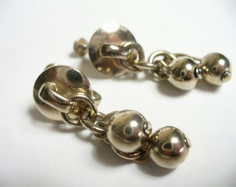 Vintage silver ball dangle earrings - silver tone - screw back - vintage costume jewelry