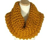 Sale Outlander Inspired, Knit Scarf,  Butterscotch Cowl, Mustard, Gold,  Bulky Cowl,  Hand Knit Cowl, Circle Scarf, Bulky Cowl,