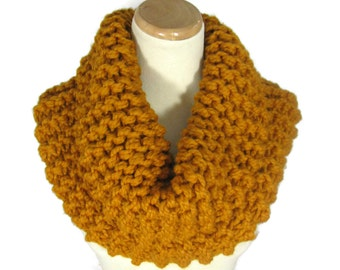 Outlander Inspired, Knit Scarf,  Butterscotch Cowl, Mustard, Gold,  Chunky Cowl,  Hand Knit Cowl, Circle Scarf, Neck Warmer