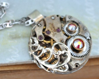 steampunk necklace TIMELESS LOVE baby owl  necklace with vintage jeweled watch movement and Swarovski rhinostones