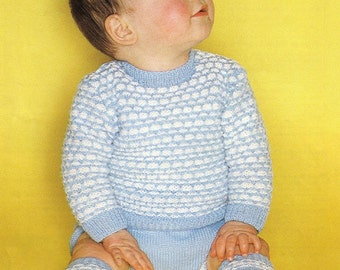 SALE**** Baby Knitting Pattern - Sweater, Pilch (Pants) and socks - 2 sizes 18 and 20 inch chest