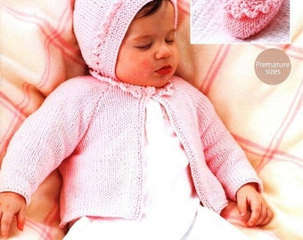 Baby KNITTING PATTERN - jacket, Bonnet and Bootees/Shoes 12 - 22 inch chest DK Prem to 3 years