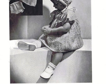 Knitting Patterns - Baby Set Knitted Dress, Pilch and Bonnet -9 to 18 mos in 2 ply yarn