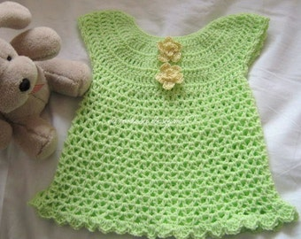 Crochet Pattern PDF - Baby Dress - CUTIE PIE Dress - up to 19 in chest  - Easy pattern