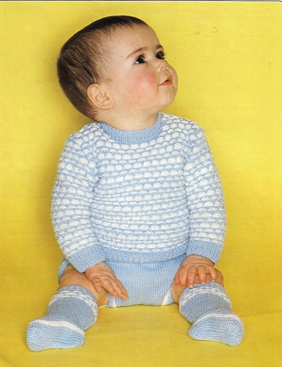 Knitting Pattern Baby Chest Sizes : SALE Baby Knitting Pattern Sweater Pilch Pants and