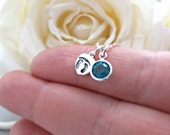 Baby Feet Necklace, New Mom Necklace, Birthstone Jewelry, Birthstone Necklace, December Birthday, Baby Shower Gift, Blue Zircon Birthstone