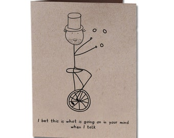 Thank You Humor Greeting Card Unicycle