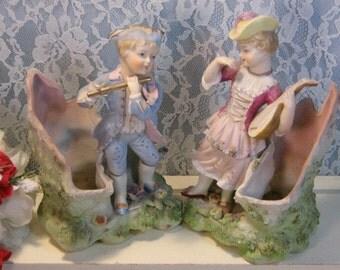 Vintage Bisque Lefton China Japan Colonial Man and Woman Figure Planters, 1950s Home Decor, Lenox Figurine Collection