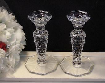 Vintage Fostoria Glass American Crystal Tall Candle Holder Set, 1950s Elegant Glass, Crystal Dinnerware, Vintage Home Decor Depression Glass