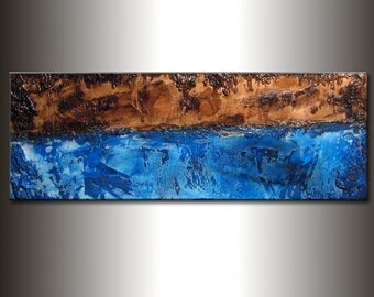 Original Brown & Blue Textured Abstract Painting, Contemporary Art, Modern Abstract fine art, by Henry Parsinia Large 48x18