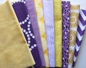 "Purple and yellow custom 8.5"" strip pre-cut bundle, 9 total"