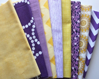 "SALE... Purple and yellow custom 8.5"" strip pre-cut bundle, 9 total"
