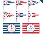 Nautical Party - Personalized DIY printable straw flags and napkin rings