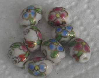 8 pc Vintage Blue,White,Gold Porcelain Oval Beads