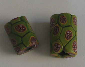 SALE 2 pieces  AfricanTrade Beads Green and Red