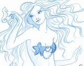 Mermaid Pencil Sketch with Sea Horses ORIGINAL Drawing Mermaids on Etsy