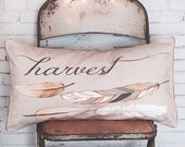 Pillow Cover Autumn Harvest Feathers Fall Decor Lumbar Size Cotton and Burlap Pillow Cover