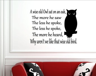 Vinyl Wall words quotes and sayings #0393 A wise old owl sat on an oak...