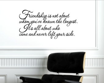 Vinyl Wall words quotes and sayings #1189 Friendship is not about whom you've known the longest.