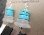 Stacked Lake Erie beach glass earrings