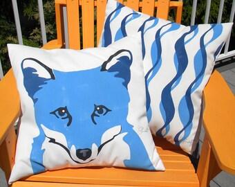 """Outdoor pillow BLUE FOX 20"""" pillow Arctic foxy nature zoology park ranger forest vixen reynard wildlife mammal Crabby Chris Original"""