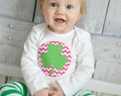 Girls St Patricks Day Shamrock Shirt or Bodysuit with Hot Pink Chevron