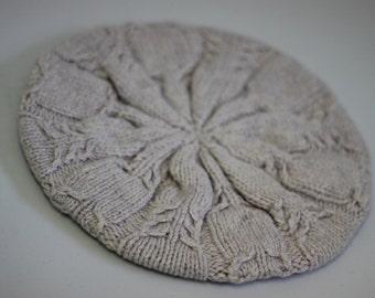 Palest purple beret style mini cable knit hat (merino, silk, cotton, cashmere)