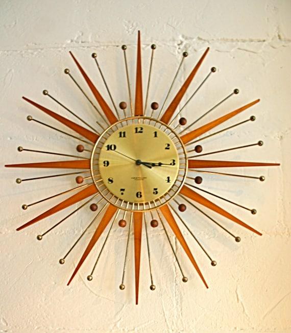 atomic mid century modern sunburst wall clock