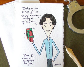 Sherlock BBC Christmas Card - Sherlock Holmes Deducing the Perfect Gift