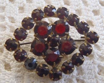 Vintage Brooch Czechoslovakia Glass Garnets