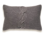Cable Knit Pillow Cover In Ash Brown Taupe 12 x 18 inch Garter Stitch Wool Natural Linen