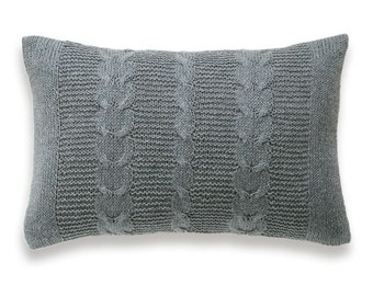Cable Knit Linen Pillow Cover In Taupe Gray 12 x 18 inch Garter Stitch Natural Linen