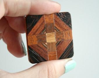 Inlaid Wood Cross Vintage Brooch