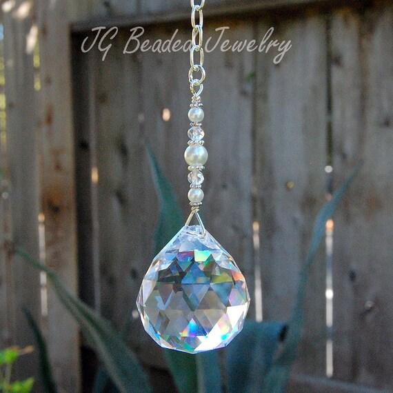 Swarovski pearl prism crystal suncatcher hanging crystal for Swarovski decoration crystals