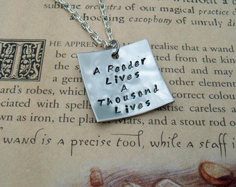 A Reader Lives A Thousand Lives Hand Stamped Pendant Book Reader Pendant Necklace