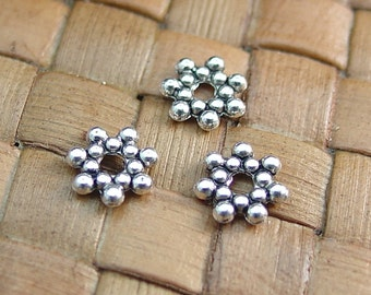 100 pcs 6x1mm Antiqued Silver Finished Pewter Rondelle Spacer Beads