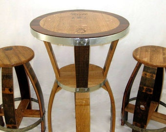 Wine Barrel Bistro Table and Barstools