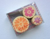 Kawaii Cute Flower Pattern Foam Stamp Set of 3 for card making, party favor, wedding, packaging