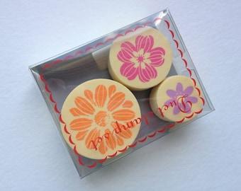 Kawaii Cute Flower Pattern Foam Stamp Set of 3 for card making, party favor, wedding, packaging